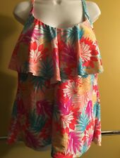 Catalina Women's Tropical Ruffled Halter Tankini Top With Strappy Back Detail 3X