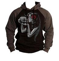 Day of the Dead Kiss Sugar Skull Black Raglan Hoodie sweater Dia De Los Muertos