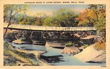 MINERAL WELLS, TX Texas SUSPENSION BRIDGE~Lovers Retreat  c1940's Linen Postcard