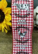 Gingham Rooster Pig & Cow Simply Blessed Farm Ribbon-10 Yards- Wired Ribbon