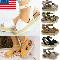 Women Platform Espadrilles Slingback Ankle Strap Beach Sandals Shoes Size USA GT
