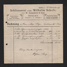 APOLDA, Rechnung 1909, Wilhelm Scholz Schlosserei