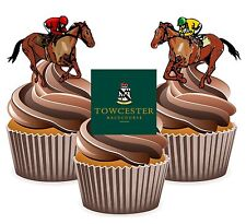 Horse Racing Towcester Racecourse - 12 Edible Cup Cake Toppers Cake Decorations