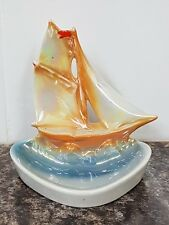 Beautiful Vintage Art Deco Lustre Porcelain Trinket Dish - Sailing Ship on Sea