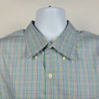 Peter Millar Brown Green Blue Check Plaid Mens Dress Button Shirt Size 2XL XXL