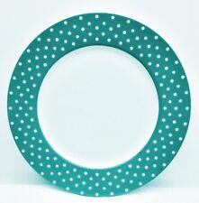 "Isaac Mizrahi Polka Dot Teal Turquoise Dinner Plate 10 5/8"""