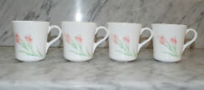 VTG Corning Ware (4) Spring Flowers Tea Cups/Coffee Mugs  Made In USA