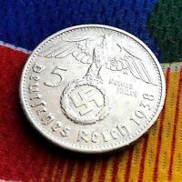 1938 G 5 Mark WW2 German  Silver Coin Third Reich  Reichsmark