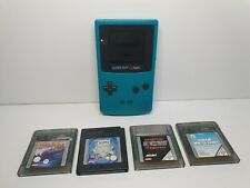 Nintendo Game Boy Color Console with 4 Games Bundle - Teal Blue Good Condition