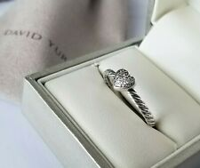 David Yurman Diamond Heart Sterling Silver Cable Ring - size 7 - Stunning! $325