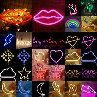 LED Neon Sign Lamp USB/Battery Power Home Wedding Decor Moon Star Night Lights