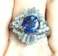 Vintage Platinum 4.4tcw 3.14ct Sapphire 1.26ct VS Diamond Ballerina Ring 8.6g