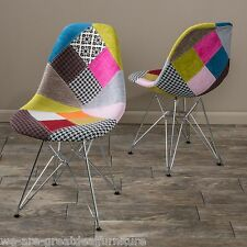 (Set of 2) Modern Eclectic Inspired Multi-Color Patchwork Fabric Accent Chairs