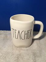 "Rae Dunn ""TEACHER"" Coffee Big Mug Black & White Magenta Artisan Collection 18 oz"