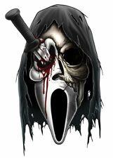 """Horror"" Temporary Tattoo, Bloody Skull Scream Mask, Grim Reaper Hood, Halloween"