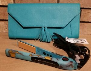 """CHI *Turquoise Glow* 1"""" Ceramic 6 Setting DUAL VOLTAGE Hairstyling Iron + Clutch"""