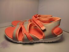 Ryka Women 11 W (wide) Breeze Orange & Gray Sports Walking Comfort Ankle Sandals
