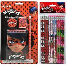 1x Miraculous Ladybug 4Pc Study School Kit + 12pc Wood Pencils