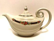 Vintage Halls Superior Aladdin Teapot w/ Lid Blue Bouquet Floral Platinum Trim