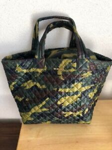 MZ Wallace Green Camo Large Metro Tote Bag Used Excellent Without Pouch