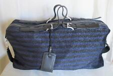 Armani Emporio Travel Bag Black & Blue Stripe Fabric w Leather Straps Large