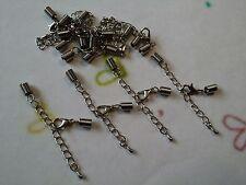 12 Collar Langosta Broche Primavera Extremos Extensor Cadena Tanga, cordón de cuero.