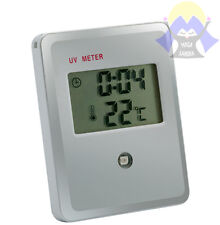 MISURATORE Raggi UV Meter TIMER Clock TIME Scottature ALLARME Monitor PILE Alarm
