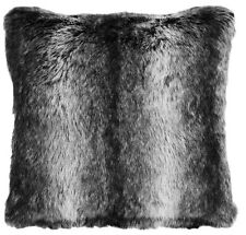 "Black Wolf Fur Pillow - Soft & Cozy Faux Fur - Large 18"" sq. - Free Ship"