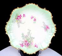 """AK CD KLINGENBERG & DWENGER COIFFE LIMOGES PINK FLORAL GREEN 8 1/2"""" PLATE 1890-"""