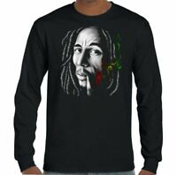 Bob Marley T-Shirt Spliff Smoking Mens Reggae Music And The Wailers Jamaica Weed