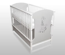 Babybett Gitterbett Kinderbett 120x60 Grau/Weiß ohne Matratze NEU mit Schublade
