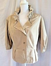 APRIORI Top Jacket  Button Front Rolled Gathered Ruffled Collar Taupe Lined