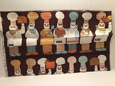 Waverly Decorator Fabric Quilt Chefs Special Row of Chefs Cook Cut Piece 45x13