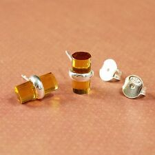 Handmade 925 Sterling Silver Citrine Stone Cylinder Stud Earrings with Box