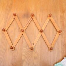 Vintage Wood Expandable Folding 9 Peg Wall Hanger Accordion Rack Coat Hat Mug