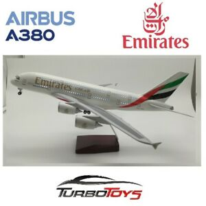 NEW - AIRBUS A380 EMIRATES AIRLINES 1/160 LARGE 46CM RESIN LED MODEL WITH STAND