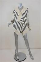Calypso St Barth Cardigan Cream/Navy Striped Cashmere Size Medium Draped Sweater