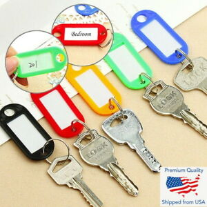 10Pcs Plastic Key Tags Id Label Name Luggage Car Tags Split Ring Baggage Chains