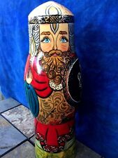 Antique KING & COUNTRY Lion Knight Nesting Doll Painted Medieval Horse FOLK ART