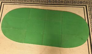 "Vintage Green Felt White Vinyl Padded 48"" Oval Table Pad Cover Foldable"