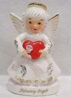 Vintage NAPCO February Angel Valentine Holds Red Heart Spaghetti Trim A1362