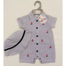 boys summer mariner romper matching hat navy and white embroidered boats Easter