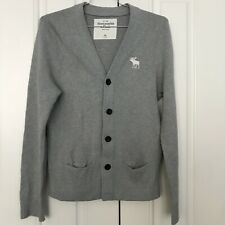 Abercrombie & Fitch Mens Thick V-Neck Button Front Pocket Gray Cardigan EUC M/L