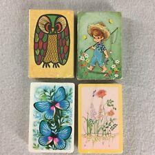 4 Vintage Decks Playing Cards Trump Butterflies Flowers Stardust Owl Boy Fishing