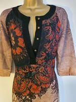 BN Desigual Dress Size L 12 14 Knee Length V Neck Brown