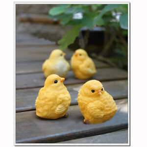Set of 4 Emulation Little Yellow Chicken Set Animals Fairy Garden Decor