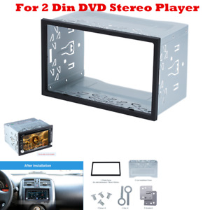 Silver Car Stereo Radio Fascia Dash Panel 2 Din Navigation Panel Frame Trim Kit