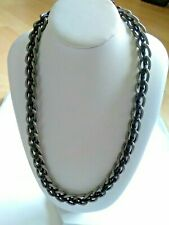 Coloured Chainlink Necklace Black and Silver
