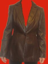 CACHE BROWN SOFT LEATHER LONG JACKET OUTERWEAR 4
