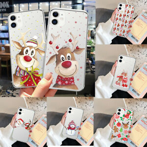 Clear Christmas Santa TPU Phone Case Cover For iPhone XS Max X Plus 13 12 11 8 7
